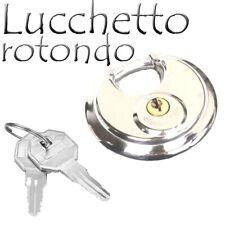 Lucchetto Rotondo Catenaccio Antiscasso 70mm Corazzato Blindato con 2 Chiavi dfh