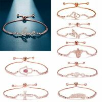 Charm Luxury Women Zircon CZ Crystal Cuff Bracelet Bangle Chain Wedding Jewelry