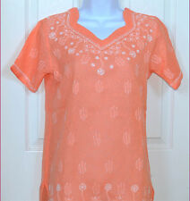 EMBROIDERED COTTON PEACH COLOR TUNIC TOP SHORT SLEEVE KURTI FROM INDIA