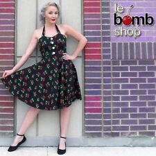 50s Style PLUS SIZE Miss Mabel Black CHERRY BOMB Print Pinup HALTER Sun Dress