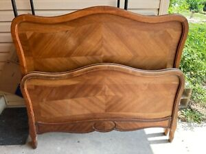 Antique French Louis XVI Full Bed Frame Headboard and Footboard