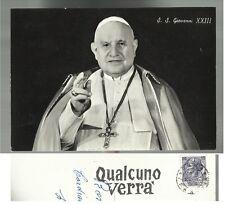 CARTOLINA DI PAPA SS GIOVANNI XXIII RARO ANNULLO MECCANICO QUALCUNO VERRA' 1959