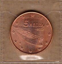 H028 Moneta Coin GRECIA: 5 euro cent 2002 FDC UNC