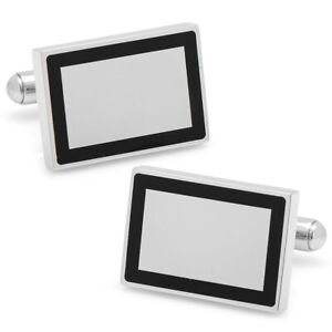 Ox and Bull Trading Co. Stainless Steel Rectangle Engravable Framed Cufflinks