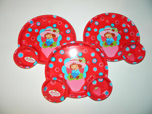 STRAWBERRY SHORTCAKE lot of 3 Plastic Reusable Shaped DIVIDER PLATES* NEW