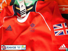 ADIDAS TEAM GB ISSUE -TRAINING FOR RIO 2016 - ATHLETE RED COTTON EVENT TEE SHIRT