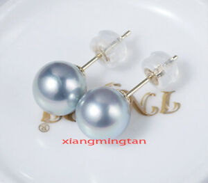 Top real natural round 18K gold 9-10MM SOUTH SEA gray PEARL STUD EARRINGS