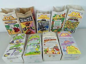 9 - McDonalds 1991 Real Happy Meal Paper Bag Sacks; Looney Tunes, Michael Jordan