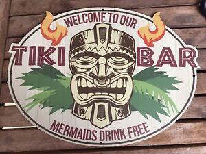 "Metallschild ""Welcome to our TIKI Bar "" 30x20 oval neu Mermaids drink free"