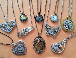 Steampunk Gothic Necklaces Mechanical Cogs Cat Owl Butterfly Designs