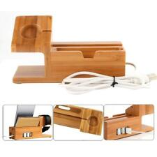 Charging Station Dock Stand Bamboo USB Hub Cable iWatch iPhone 8 X 7 6 6s Plus