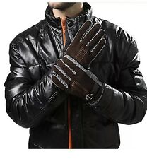 Men's Winter Leather Gloves Thick Warm Fleece Windproof Thermal Mittens