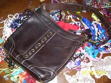 LADIES BROWN COWHIDE LEATHER COACH PURSE WITH SHOULDER STRAP + 200 TREASURES