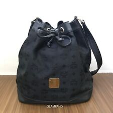 Pre Owned Authentic MCM Nylon W/ Leather 2 Drawstring Shoulder Bag