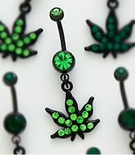 Beautiful Cute Black Steel Marijuana Weed Leaf Navel Belly Bar W/ Green Crystals