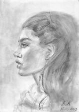 original drawing A4 63PK art watercolor pencil, watercolor female portrait 2021