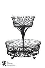 2 Tier Wrought Iron Footed Display Basket Food Storage Flower Rack Centerpiece