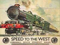 TRAVEL RAIL GWR LOCOMOTIVE CORNWALL DEVON UK VINTAGE POSTER ART PRINT 1001PY