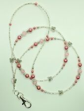 """PAPILLONS ROSES"" perles de verre ID Lanyard Badge Holder collier fait main"
