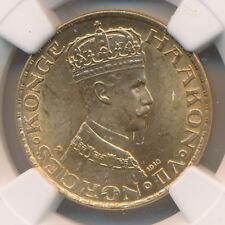 NORWAY GOLD 20 KRONER 1910 - NGC MS 64