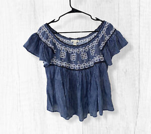 American Eagle Outfitters blue & white Embroidered Off the shoulder top Small
