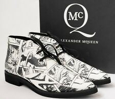 ALEXANDER MCQUEEN MCQ UK7 EU40 US10 BLACK WHITE LEATHER MANGA  ANKLE LACED BOOTS
