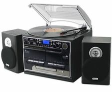 Music System Turntable CD Cassette Retro USB Black Records Separate Speakers