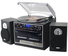 Music System Turntable CD Cassette Retro USB black records separate speakers