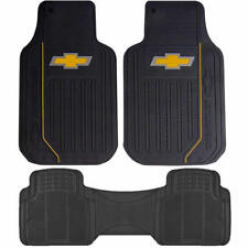 3 piece All weather Rear Runner Yellow bowtie Floor Mats Set for Chevrolet Chevy
