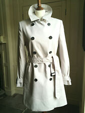 LK Bennett London UK12 BNWT 3/4 length double breasted trench in silver grey