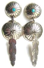 VTG Snake Eye Turquoise Sterling Silver Concho Feather Navajo Style 60s Earrings