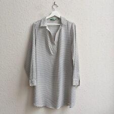C.Wonder Sz 12 AS IS Long Sleeve Split VNeck Sheer Striped Tunic Black White QVC