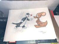 Virgil Ross Animation Sketch Sylvester & the Kangaroo rare signed art Virgil