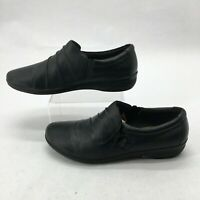 Clarks Casual Loafers Slip On Comfort Shoes Womens 9.5M Pleated Leather Black