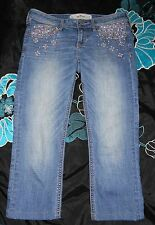 Women's Hollister Cropped Jeans With Rhinestones Bling Size 1R 25 Medium Wash
