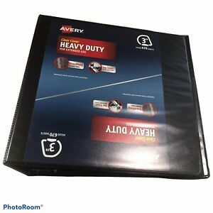 """Avery Heavy Duty Clear Cover Three Ring 3"""" Black Binder 670 Sheet Capacity New"""
