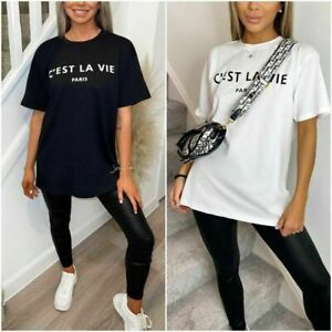 New Women Short Sleeve Cest La Vie Slogan Printed T-Shirt Ladies Casual Tee Top