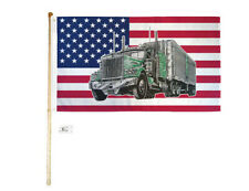 5' Wood Flag Pole Kit Wall Mount Bracket With 3x5 Usa Big Truck Polyester Flag