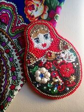 Broche handmade exclusive matrioshka poupée russe Swarovski