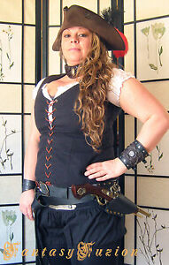 Pirate Freebooter Captain Flintlock Gun SINGLE Leather Belt Holster