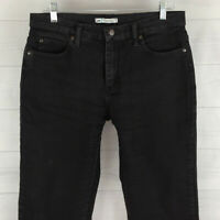 Lee Petite Womens Size 10P Stretch Solid Black Relaxed Straight Leg Jeans in EUC