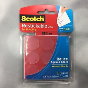 """Scotch Restickable Dots for Mounting R105 7/8"""" - 18 Clear Dots Per Pack"""