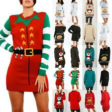 Ladies Womens Christmas Xmas Elf Costume Fancy Knitted Santa Helper Mini Dress