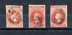 Australia - South Australia 1856-58 2d x 3 shades FU