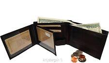 Black Men's Leather Wallet, Bifold Wallet 2 Billfold 2 flip side ID Coin case BN