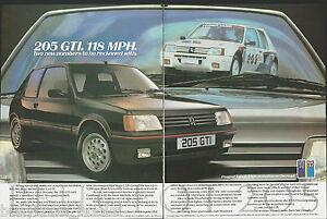 1984 PEUGEOT 205GTI 2-page advertisement, British advert, 205 GTI