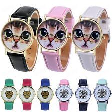 Fashion Women Watch Gold Animal Pattern Dial Leather Analog Quartz WristWatches