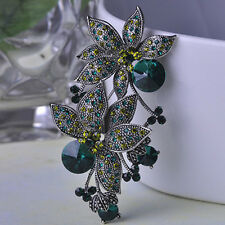 STUNNING VINTAGE INSPIRED ANTIQUE SILVER EMERALD GREEN RHINESTONE FLOWER BROOCH