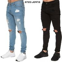 Enzo Mens Ripped Super Skinny Stretch Denim Jeans Trousers pants Black Blue