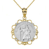"10k Two Tone Yellow Gold Diamond Saint Christopher Circle 1"" Pendant Necklace"